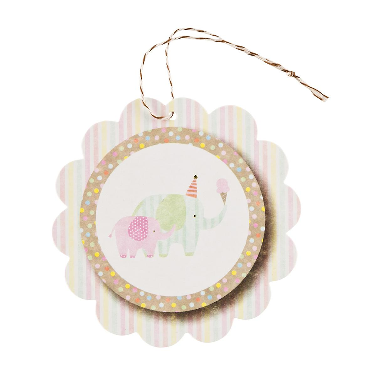 round elephants scalloped gift tags the container store