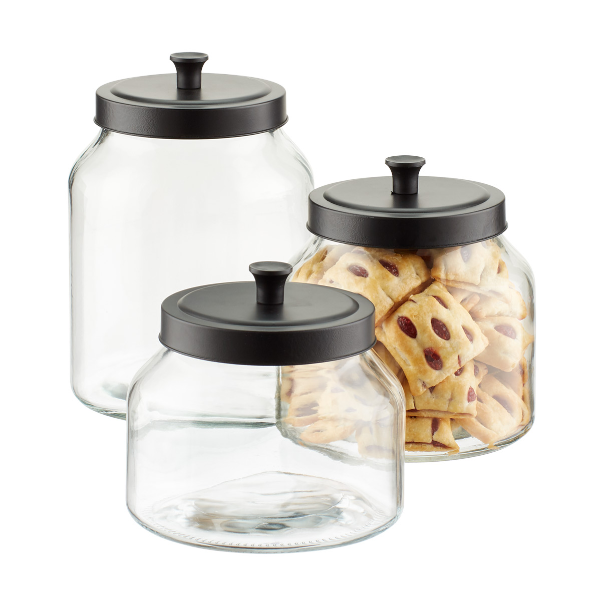 Charmant Glass Canisters With Matte Black Lids ...
