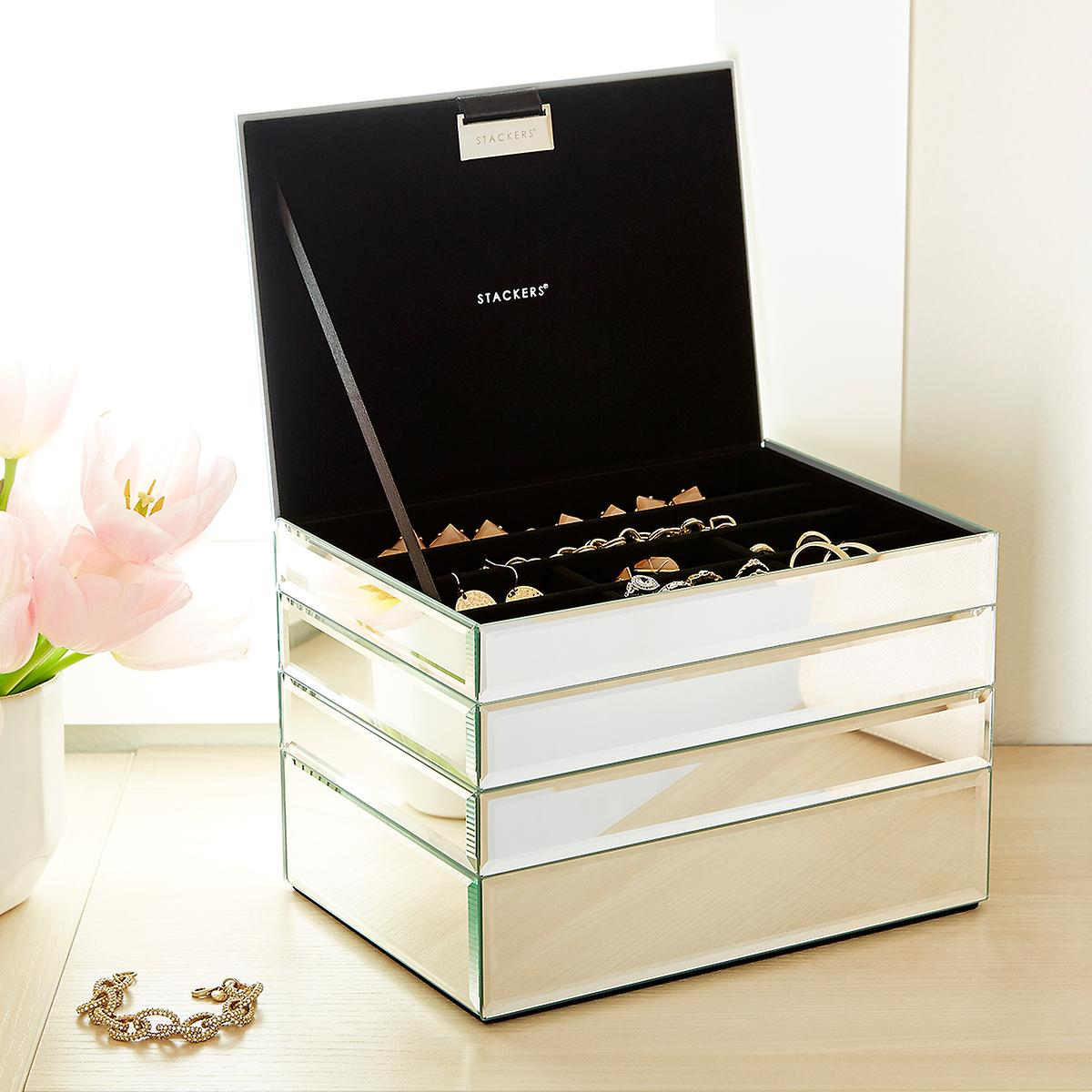 stackers 4 piece mirrored jewelry box the container store