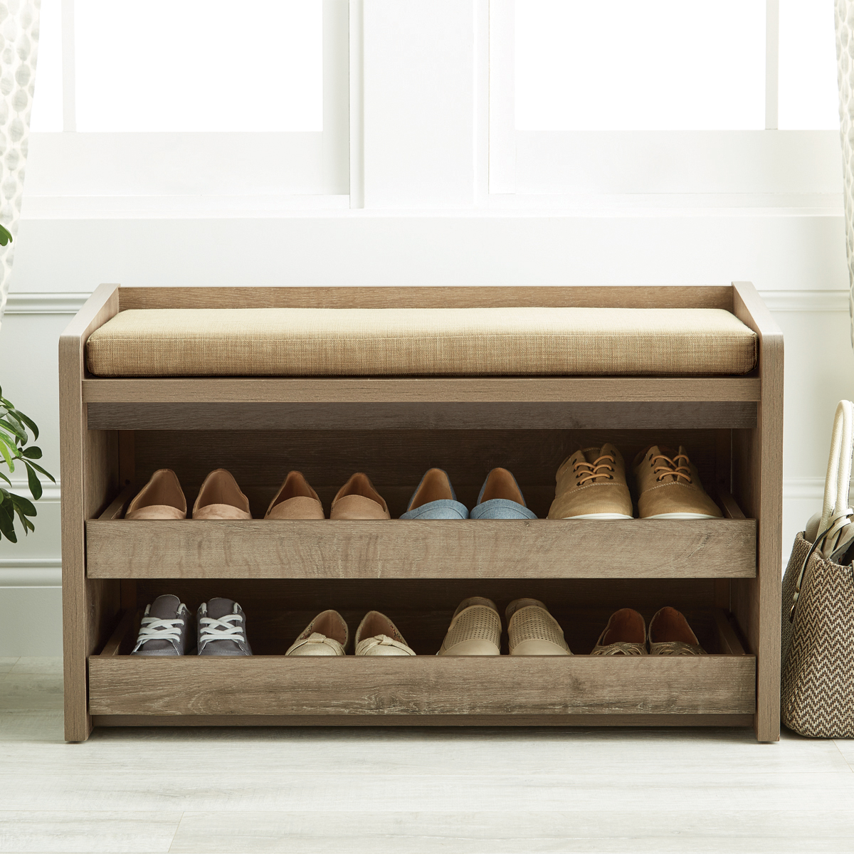 Rustic Driftwood Mercer Entryway Storage Bench