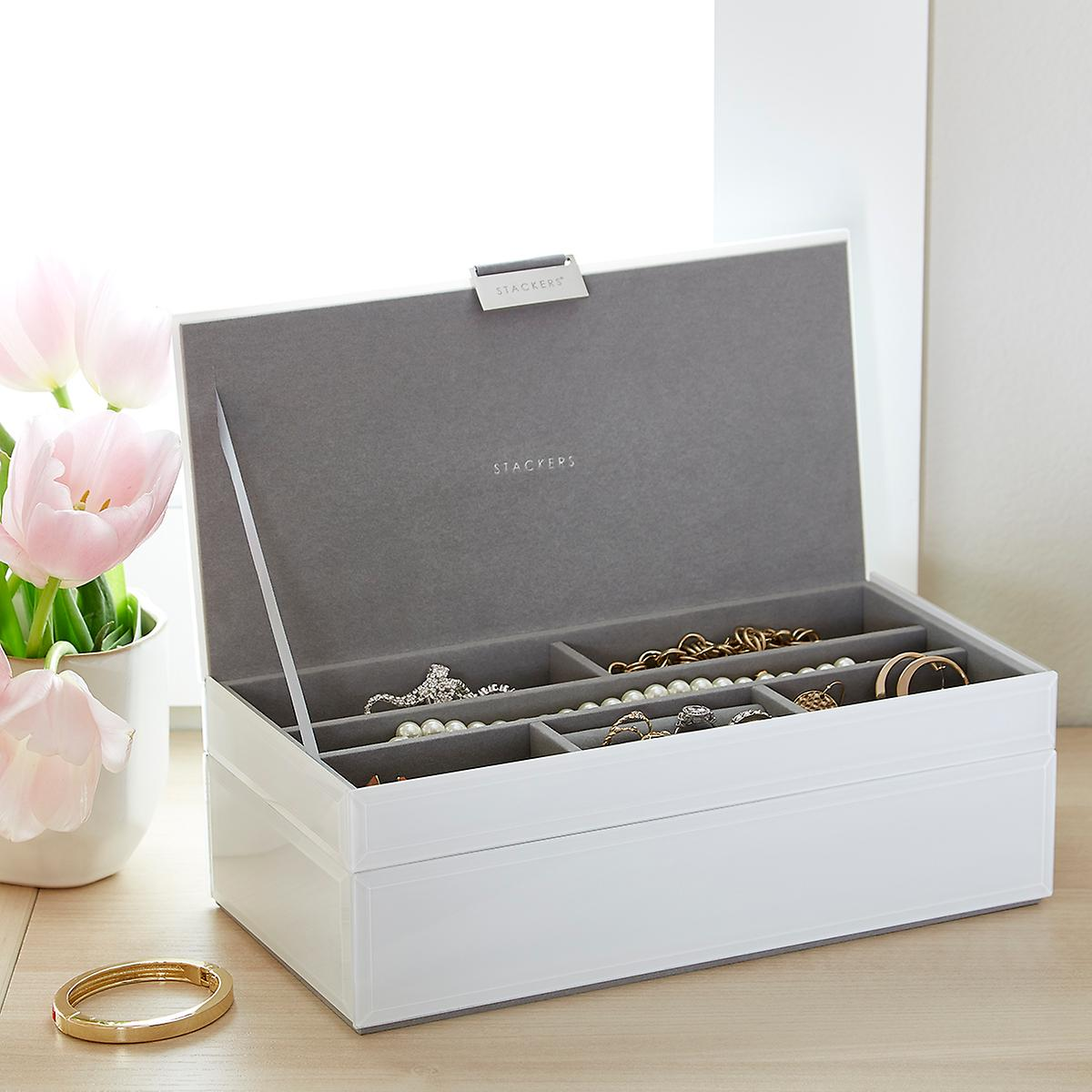 bd33116e38ec White Glass Stackers Jewelry Box | The Container Store
