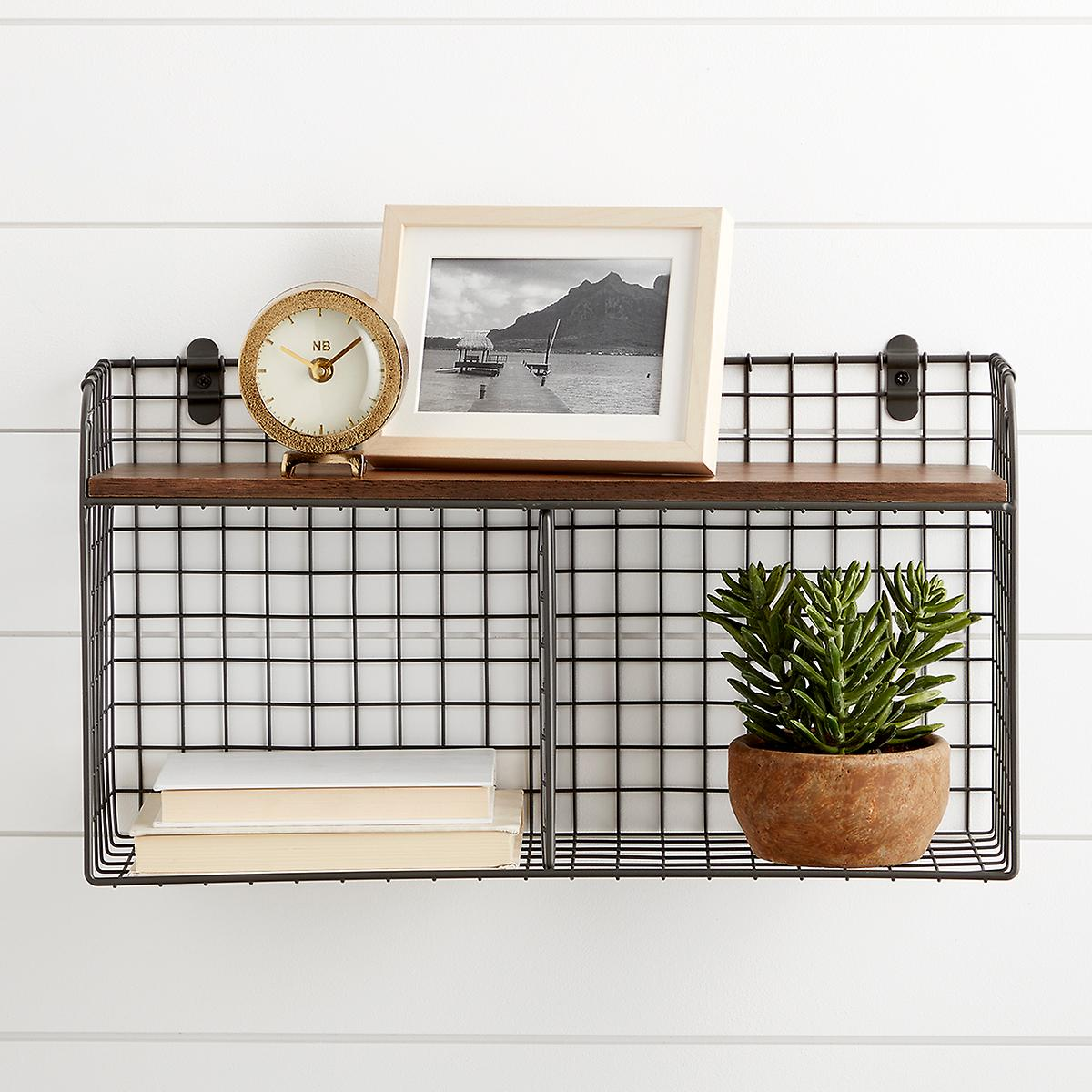Wall-Mounted Wire Double Bin | The Container Store