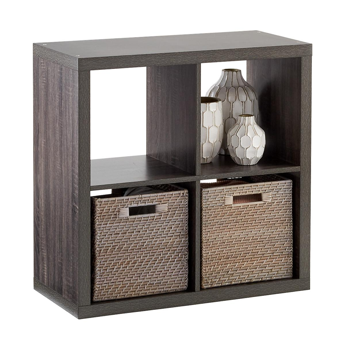 Weathered Smoke 4 Cube Cubby Shelving