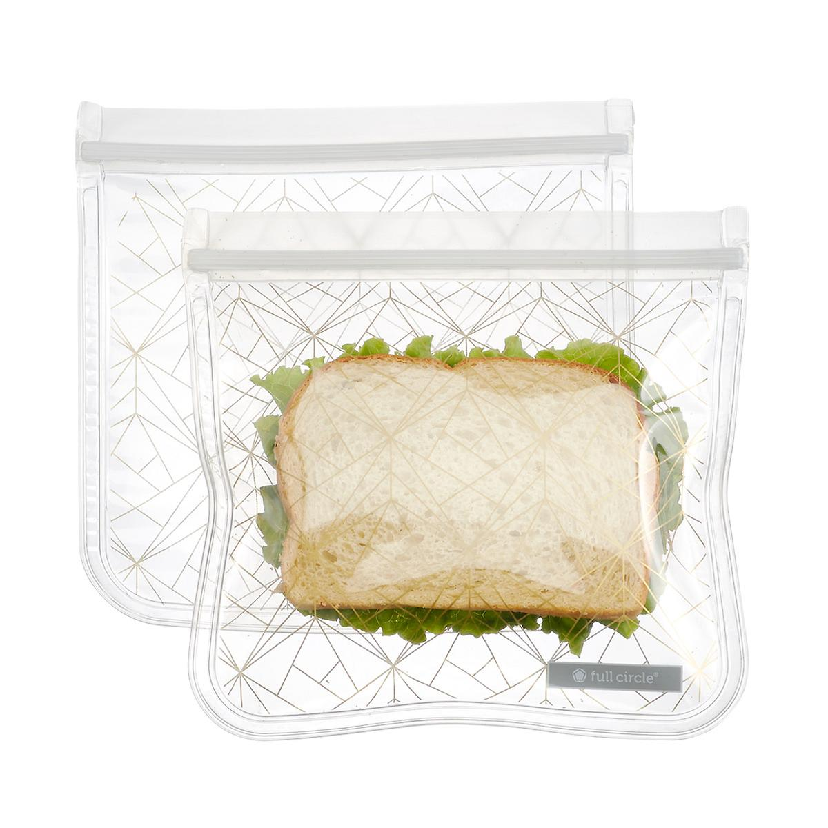 Full Circle Reusable Gold Geo Sandwich Bags Pkg 2