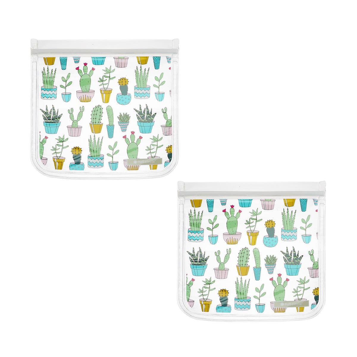 Full Circle Cactus Party Reusable Sandwich Bags Pkg 2