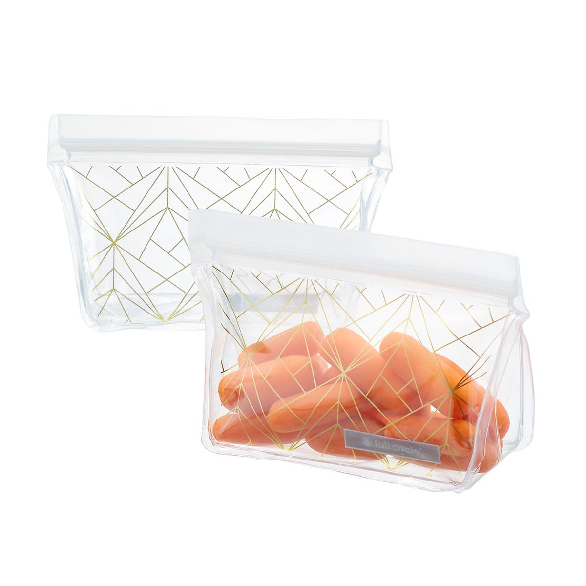 Full Circle Gold Geo Reusable Snack Bags Pkg 2