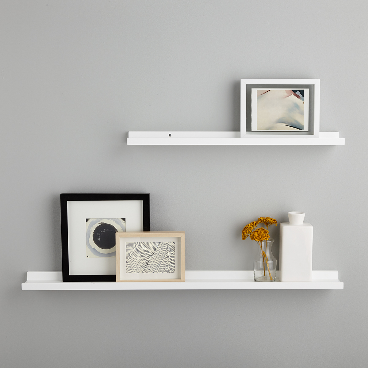 white ledge wall shelves the container store rh containerstore com Wall Shelves and Ledges white picture ledge shelves