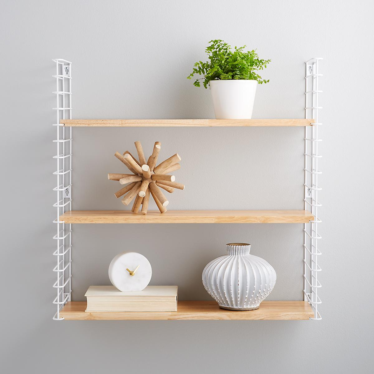 White Metal Amp Natural Solid Wood Libro Wall Shelf The