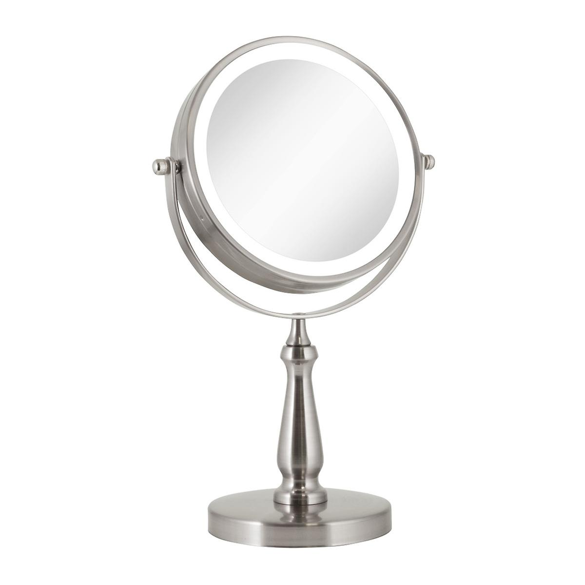 Satin Nickel 1x 8x Led Round Vanity Mirror The Container Store