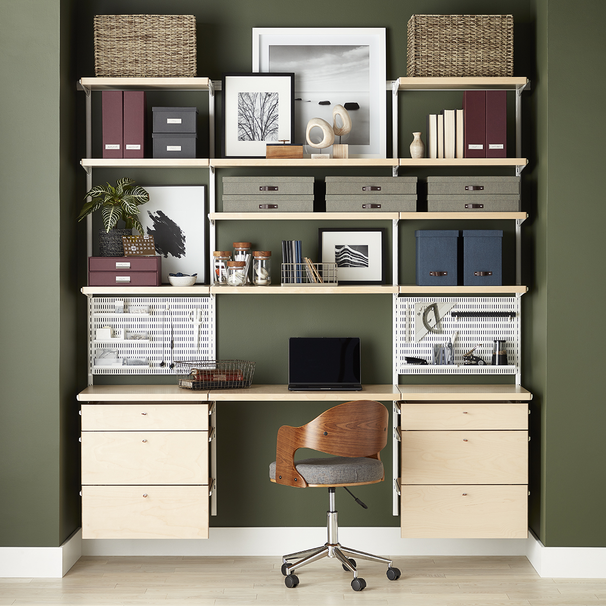 Picture of: Elfa Decor Birch White Home Office The Container Store