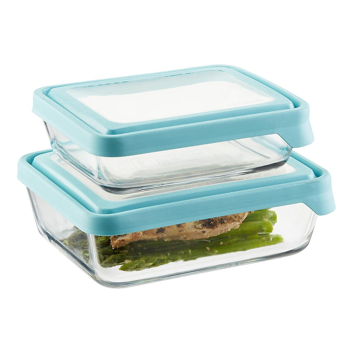 a64efe556a9f Anchor Hocking Glass TrueSeal Rectangle Food Storage Containers with Blue  Lids