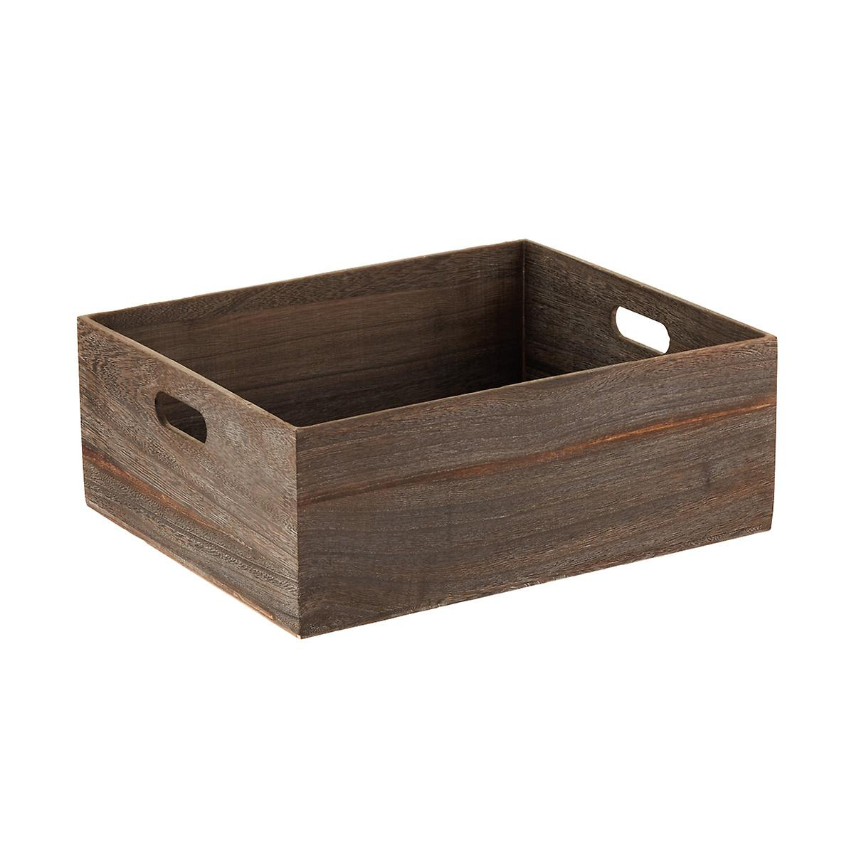feathergrain wooden storage bins with handles the container store