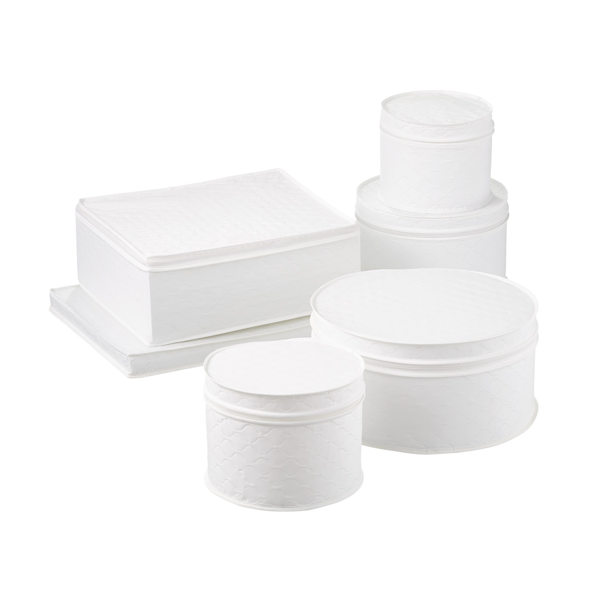 Bon 6 Piece White Quilted China Storage ...