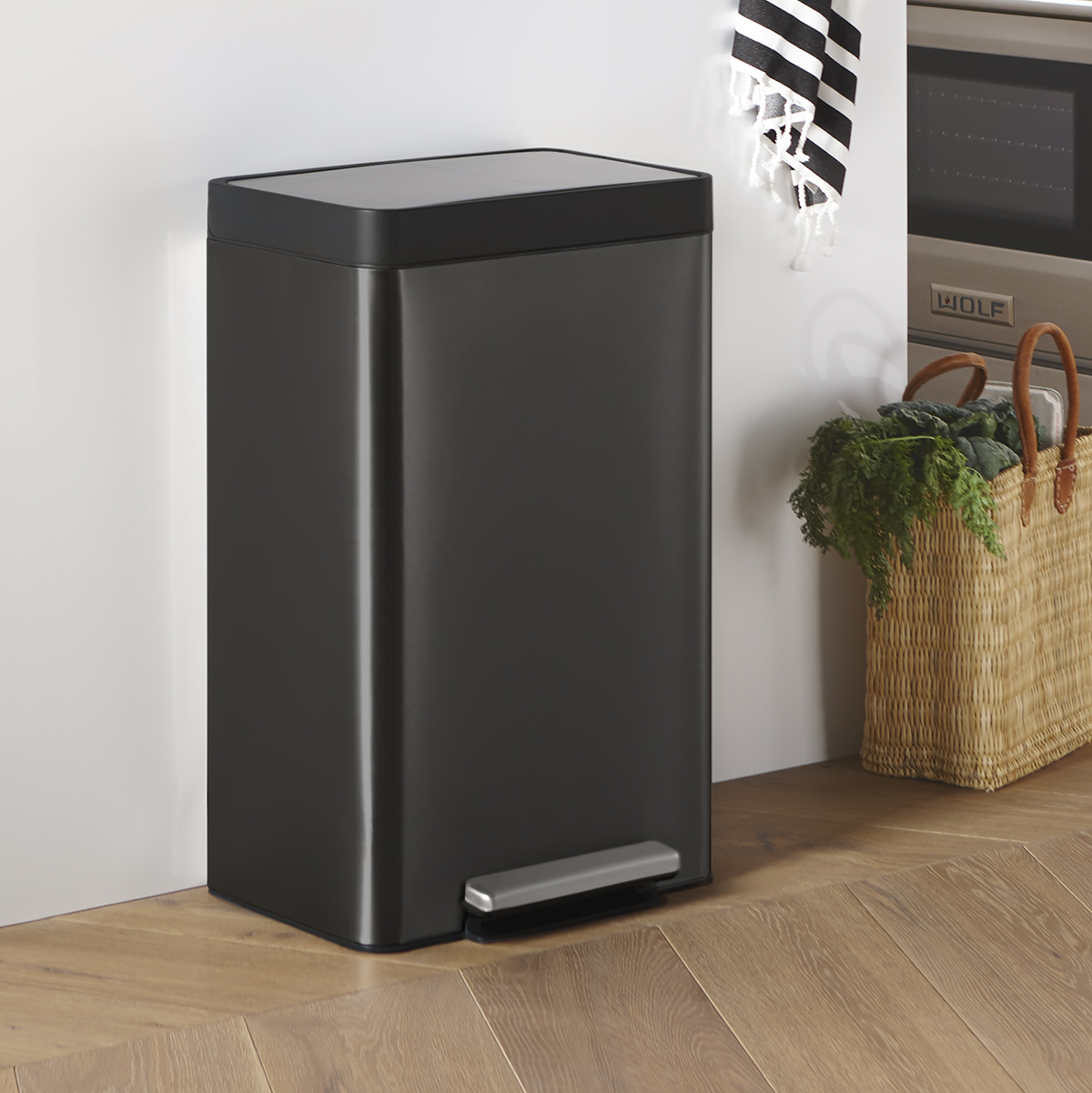 Picture of: Kohler Black Stainless Steel 13 Gal Step Trash Can The Container Store