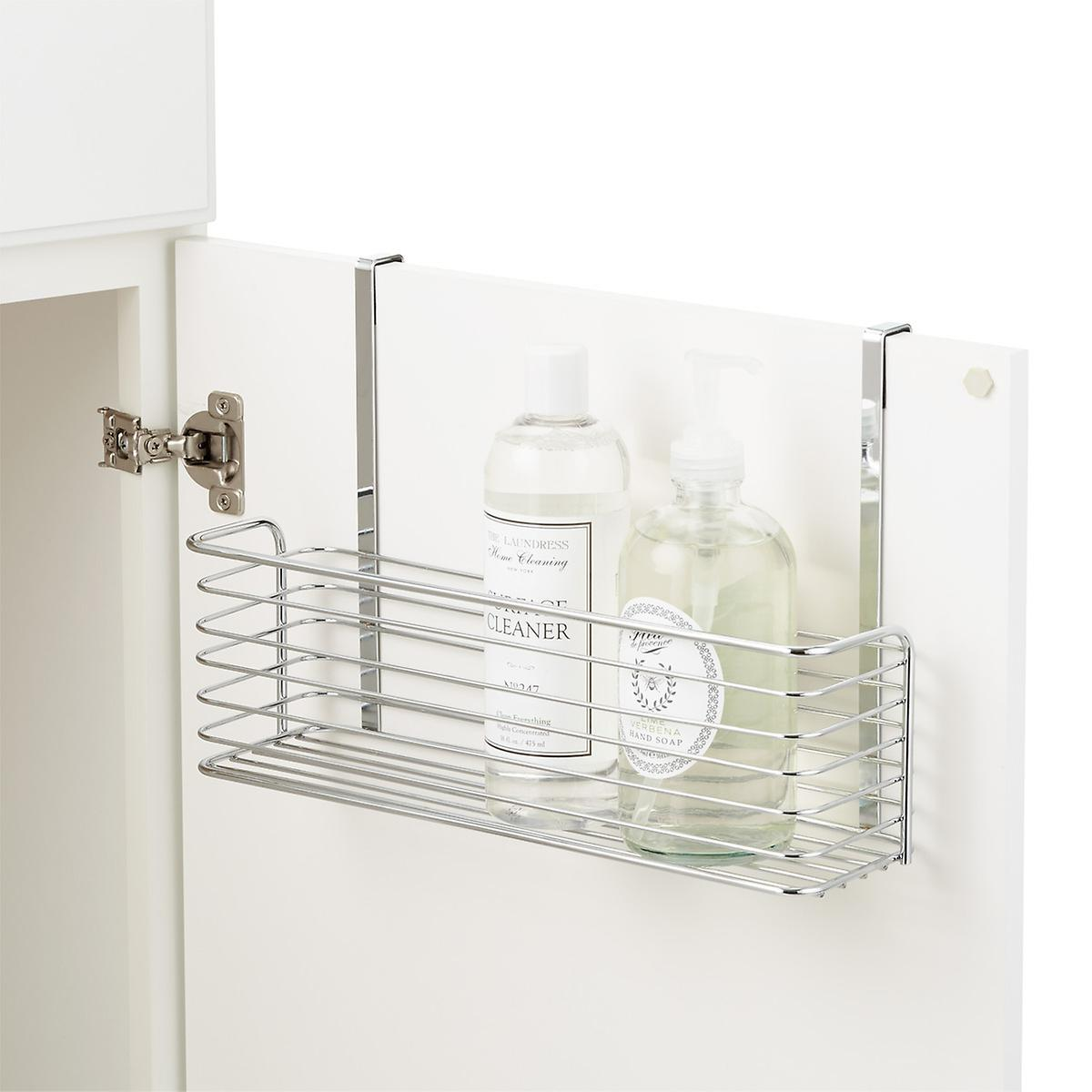 Chrome Over The Cabinet Wide Basket The Container Store