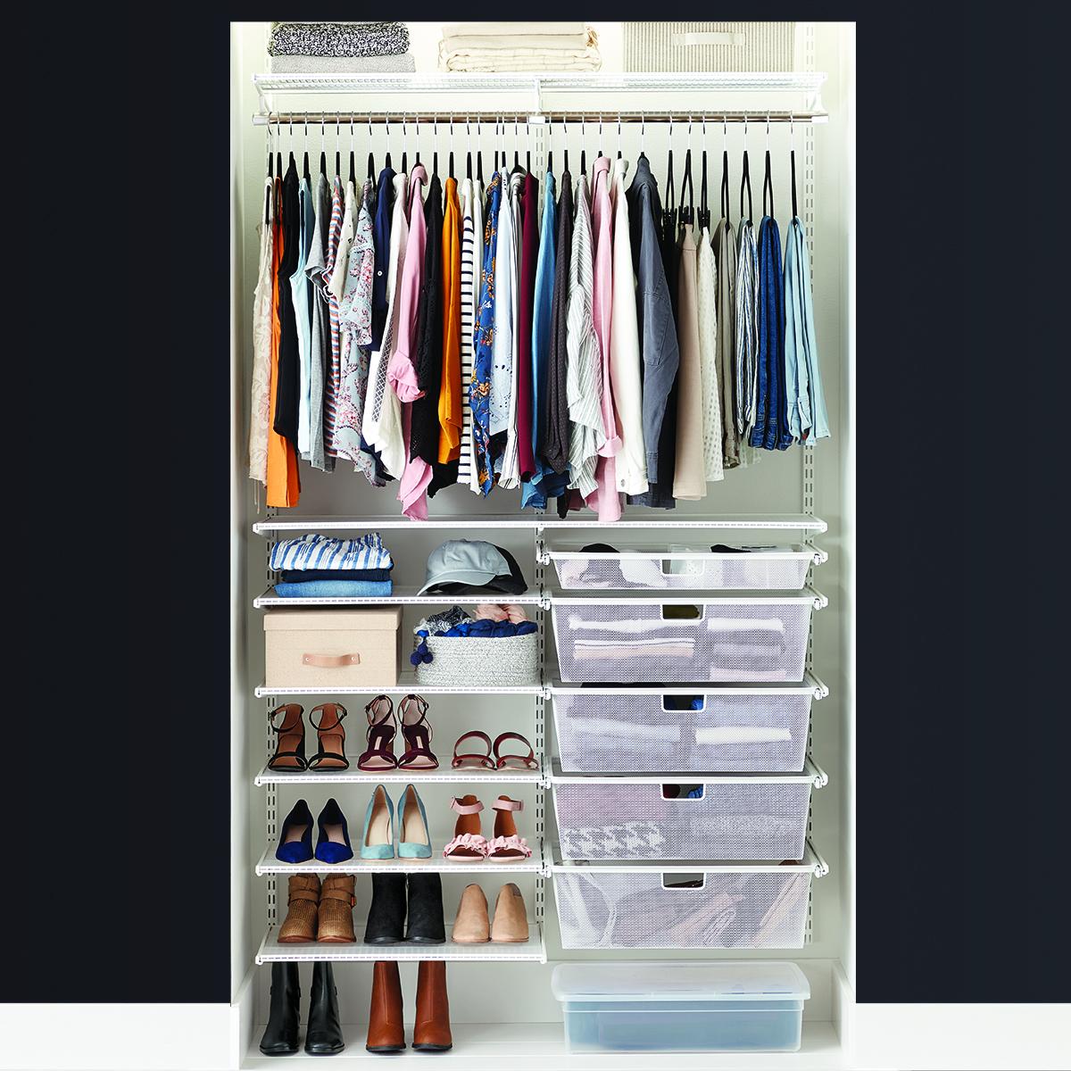 Elfa Classic 4 White Reach In Clothes Closet
