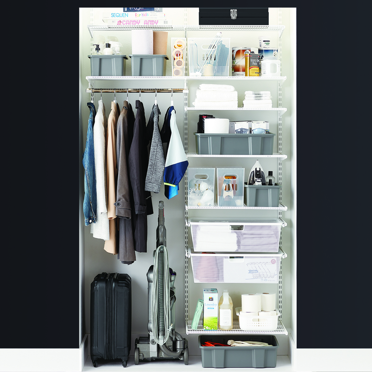 Elfa Classic 4 White Coat Storage Closet