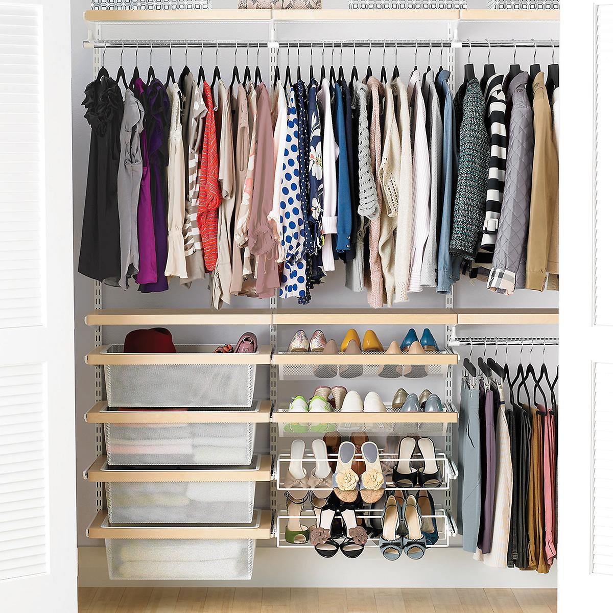 Birch White Elfa Decor Reach In Clothes Closet The Container Store