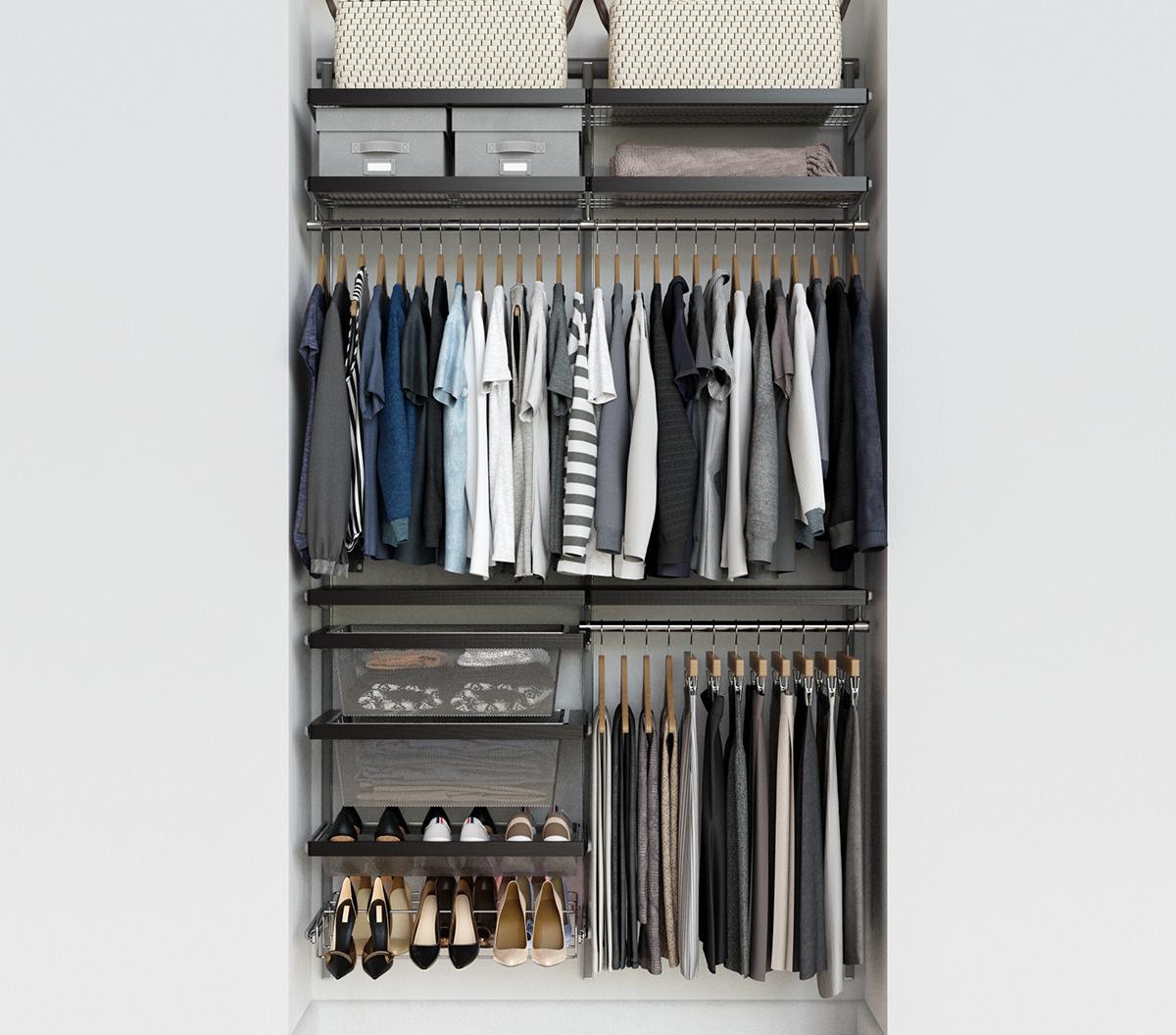 Elfa Decor 4 Walnut Platinum Reach In Closet