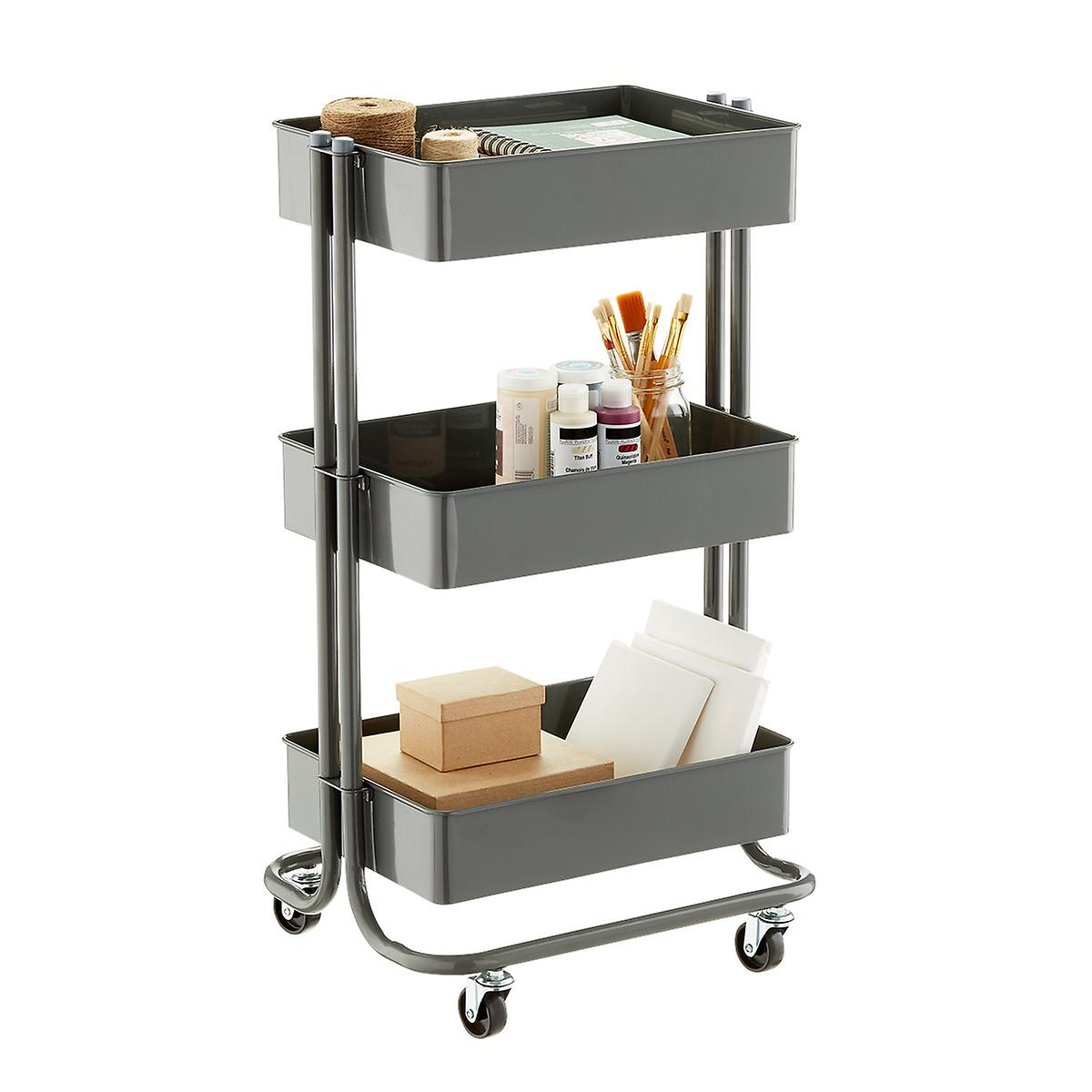 Dark Grey 3 Tier Rolling Cart The Container Store
