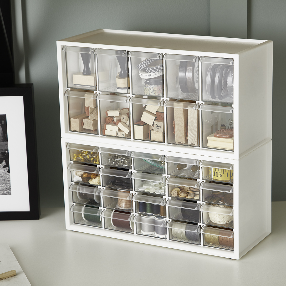 9 Drawer Tool Box Hardware Craft Storage Case Home Clutter Organizer W// Handle