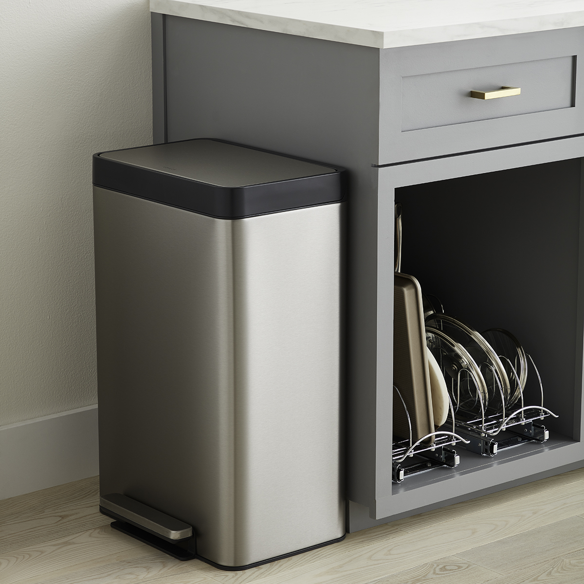 Kohler Stainless Steel 13 Gal Step Trash Can The Container Store