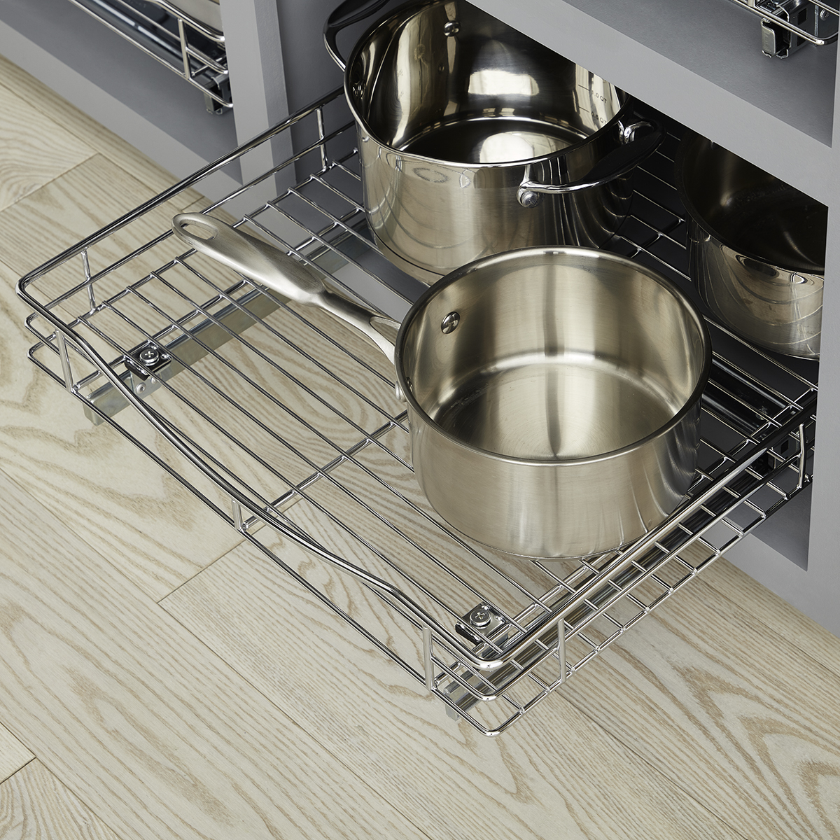 Pull Out Shelf Lynk Chrome Pull Out Cabinet Drawers The Container Store