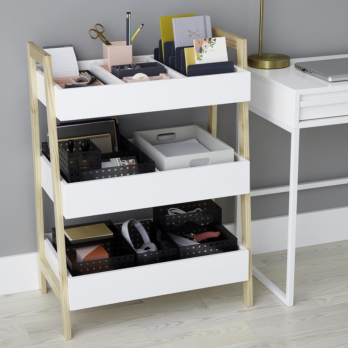 Picture of: White Multi Purpose 3 Tier Shelf The Container Store