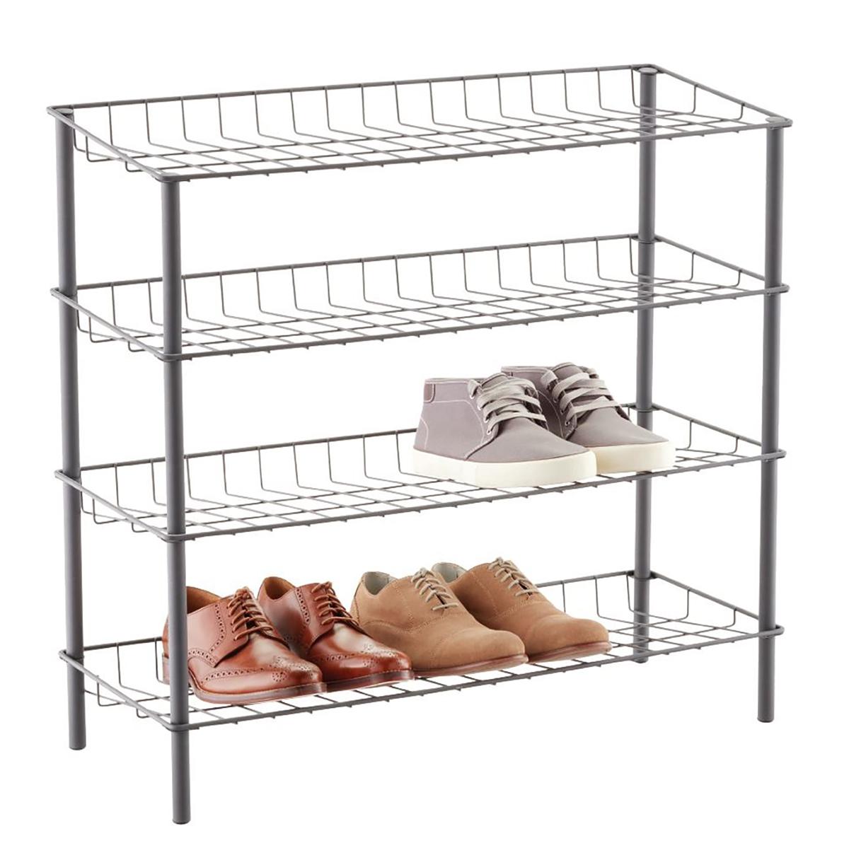 4 Tier Shoe Storage Shelf Rack Organizer Black Free Standing Holds 12 Pairs S247