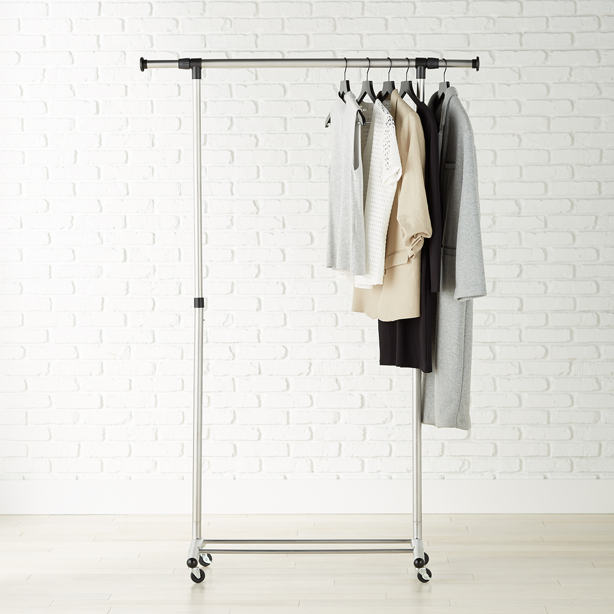 Brushed Chrome Metal Clothes Rack