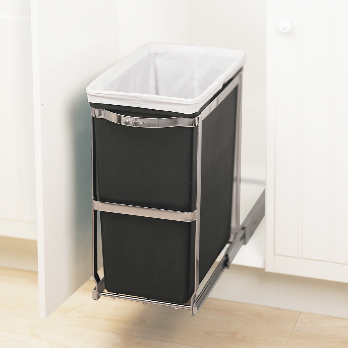 Pull Out Trash Can Simplehuman Black 8 Gal Under The Counter Pull Out Trash Can The Container Store