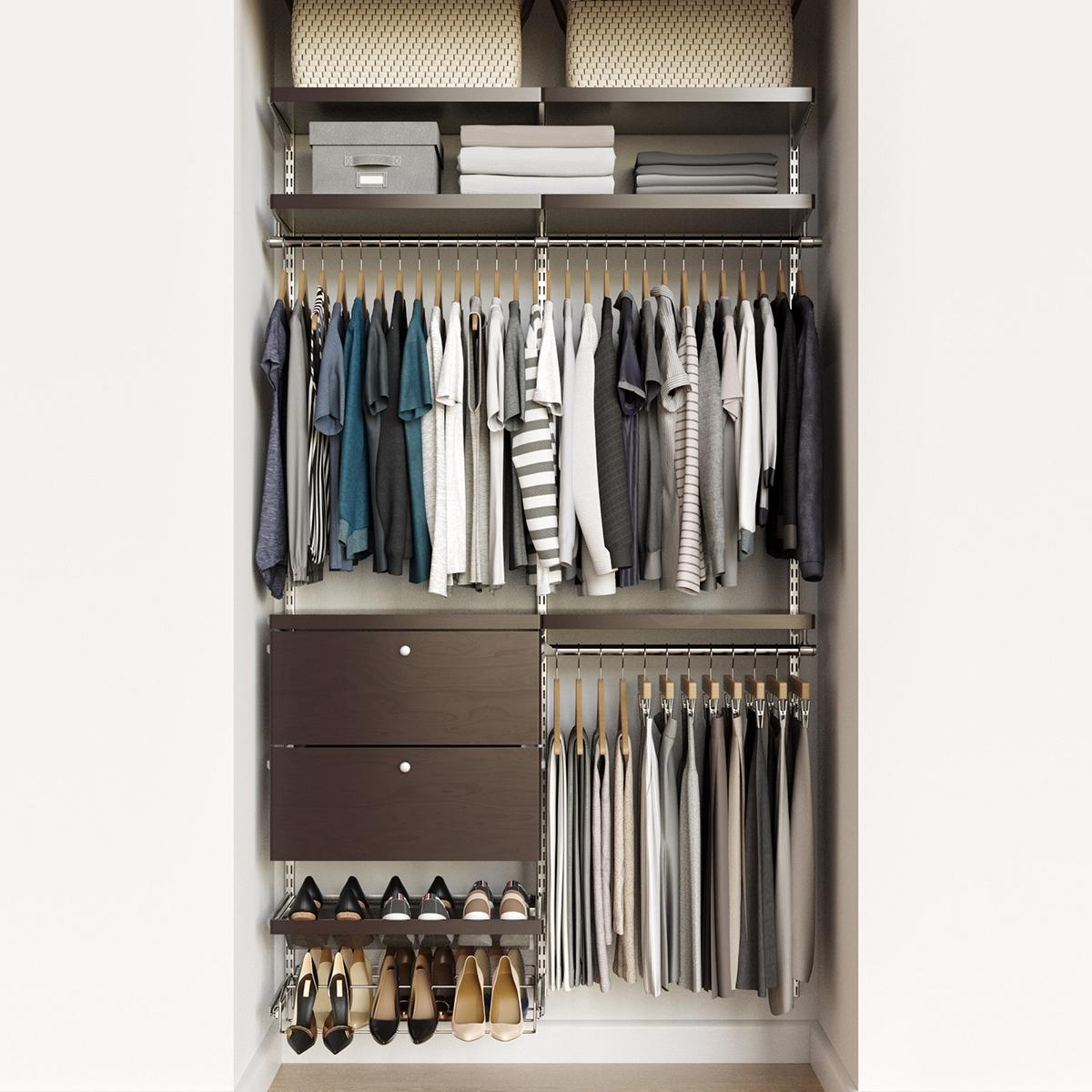 Elfa Decor 4 Platinum Walnut Reach In Drawer Front Closet