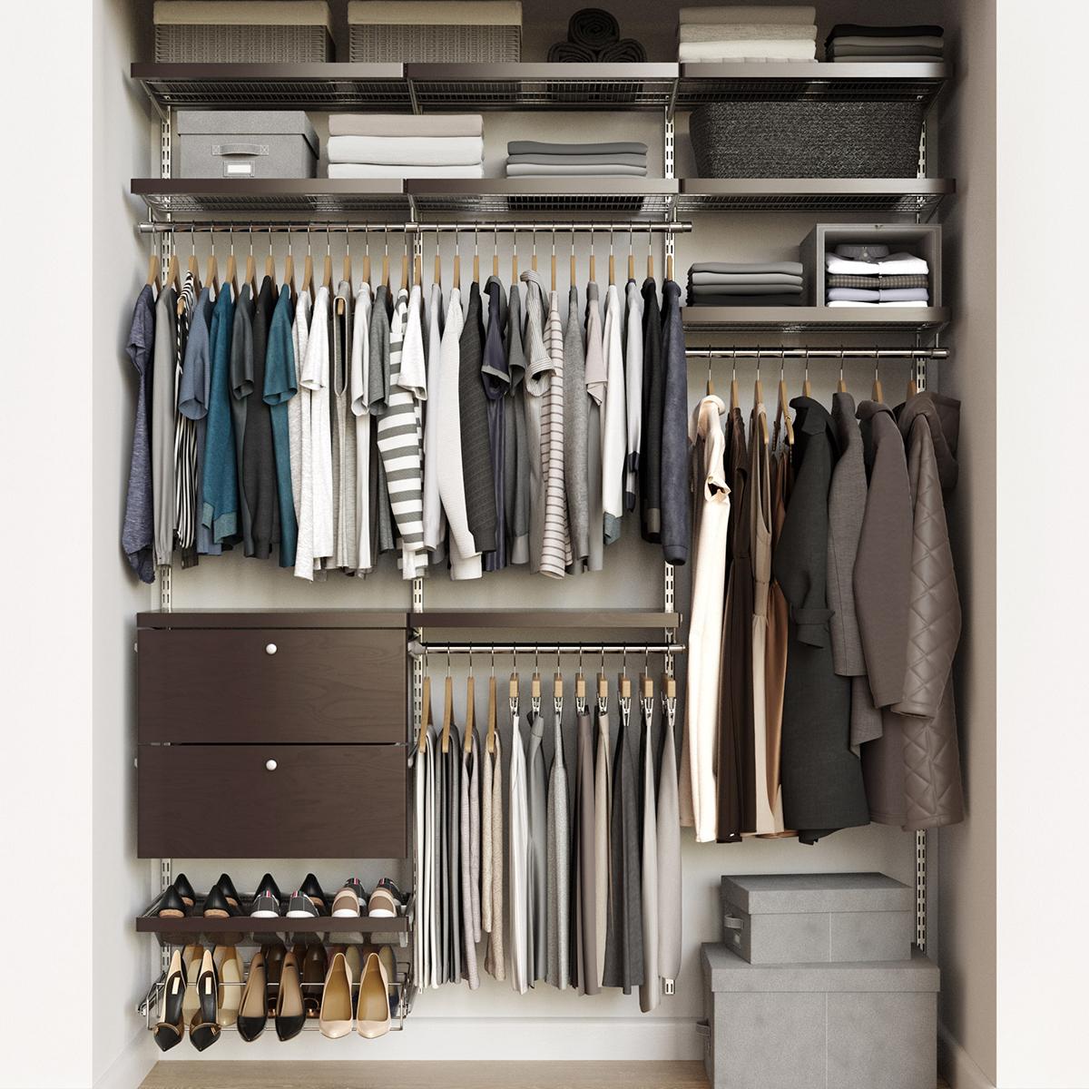 Elfa Decor 6 Platinum Walnut Reach In Drawer Front Closet