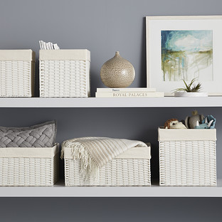 small washed brown rectangle basket with handles hobby.htm white montauk woven rectangular storage bins the container store  montauk woven rectangular storage bins