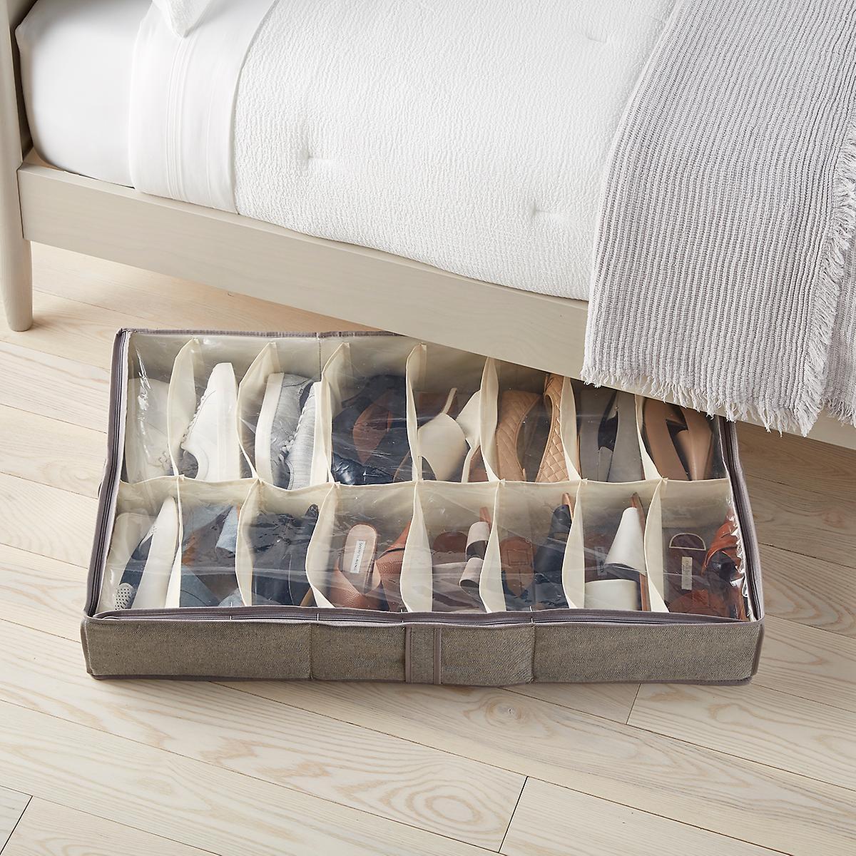 Under Bed Shoe Storage Tweed 16 Pair