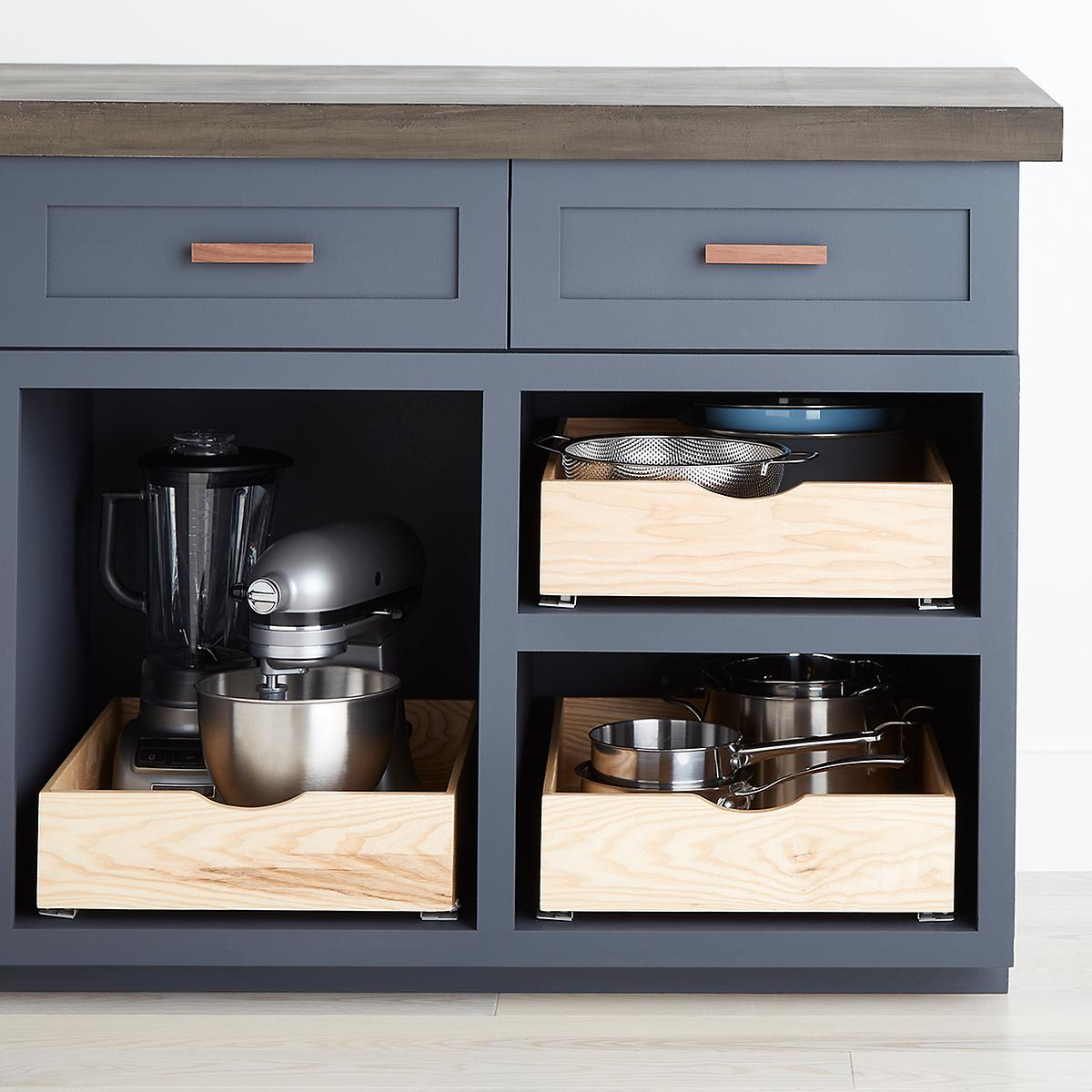 Ash Wood Roll Out Cabinet Drawers The Container Store
