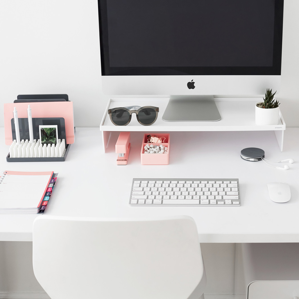 Picture of: White Poppin Monitor Stand The Container Store
