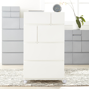 All Set HORIZONTAL TWIN DRAWER STORAGE UNIT 345x140x255mm Stackable WHITE