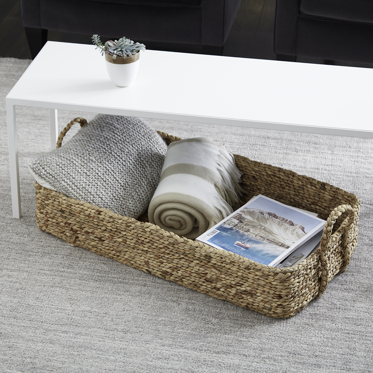 Picture of: Water Hyacinth Natural Weave Coffee Table Under Bed Bin The Container Store