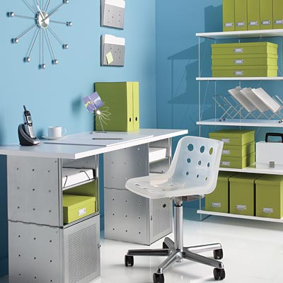 Galvanized QBO® Steel Cube Desk with White Top