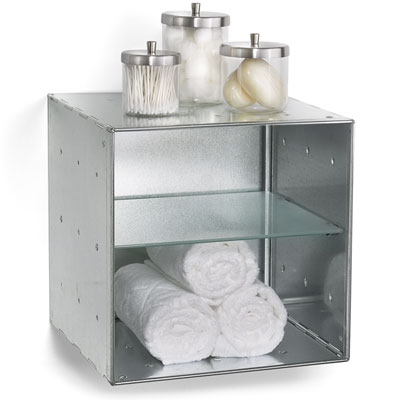 Wall-Mounted Galvanized QBO® Divided Steel Cube