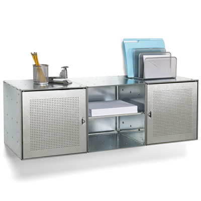 Wall-Mounted Galvanized QBO® Steel Cube Credenza