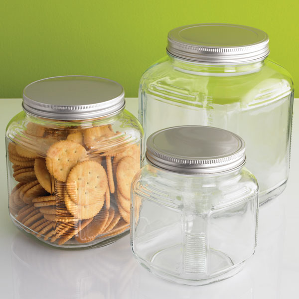 Gl Jars With Lids Anchor Hocking Er Aluminum The Container