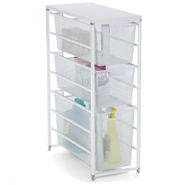 Ordinaire White Elfa Mesh Laundry Storage