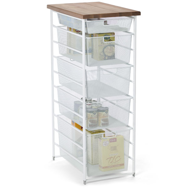 White elfa Mesh Pantry Storage