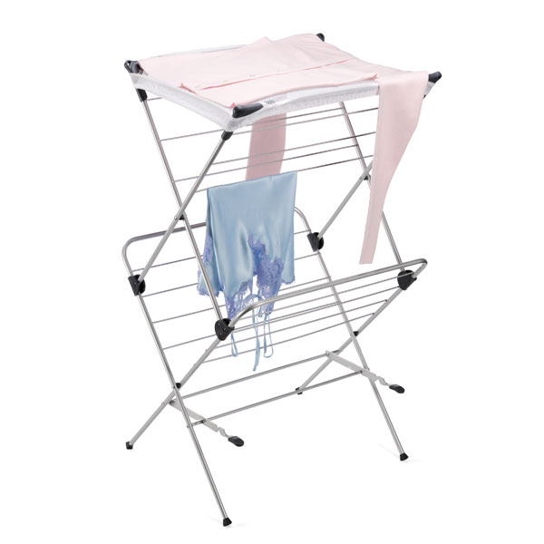 polder 2 tier mesh top clothes drying rack the container store Garage Wiring Basics 2 tier mesh top drying rack