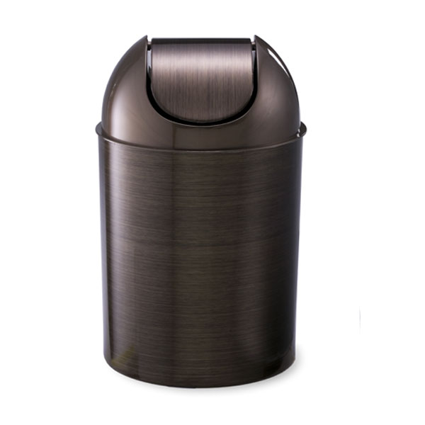 Umbra 2 5 gal mezzo can bronze for Covered bathroom wastebasket